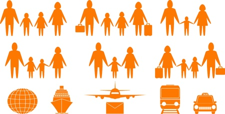 set of family people and travel objects Vector