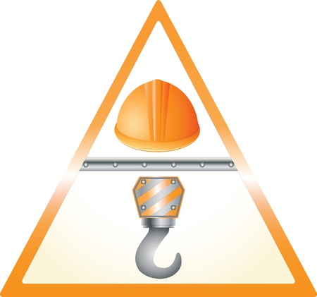 hoisting: warning yellow sign with helmet and hook