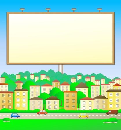 car bills: colorful illustration with billboard in city landscape