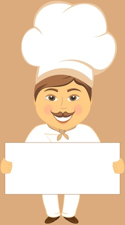 cheerful cartoon cook hold space for text Stock Vector - 13180368