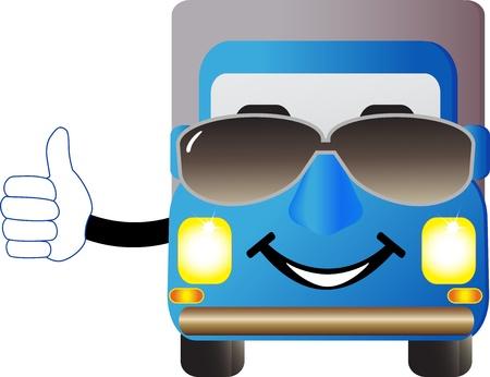 teherautók: aranyos rajzfilm teherautó, napszemüveg, és bemutatja Menő