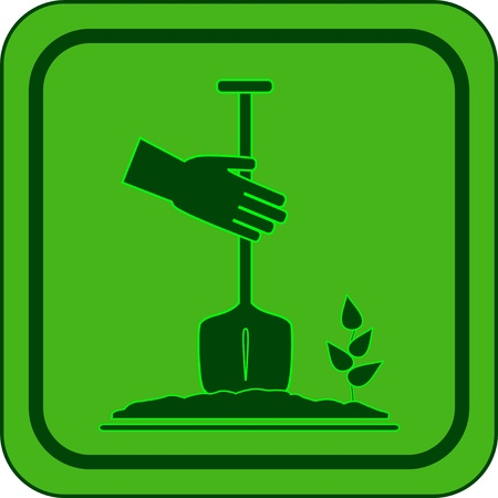 landscaping: green garden icon - symbol landscaping Illustration