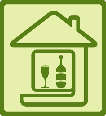 green icon sign with bottle and glass Vector