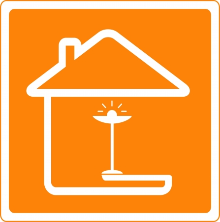 ware house: icon with house silhouette and floor lamp Illustration