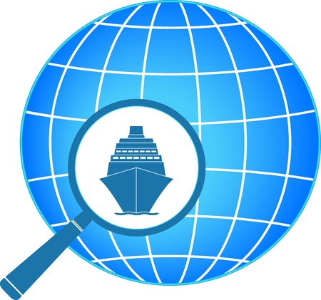 blue symbol - icon with ship and magnifier with planet