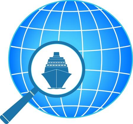 voyage: s�mbolo azul - icono de lupa con el barco y con el planeta