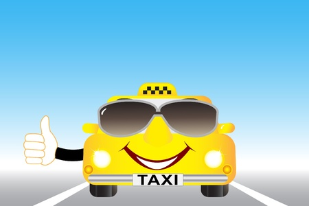 fare: cute cartoon taxi with thumb up on the highway Illustration