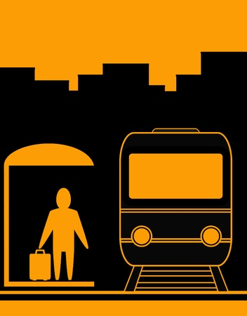yellow urban background with man and train silhouette, symbol travel Vector