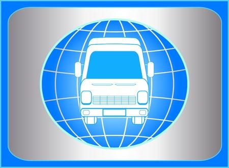 미니: 지구와 미니 버스 실루엣 파란색 기호