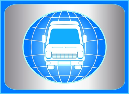 blue sign with planet and mini bus silhouette Vector