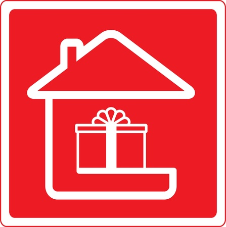 red icon with home holiday symbol and house silhouette Vector