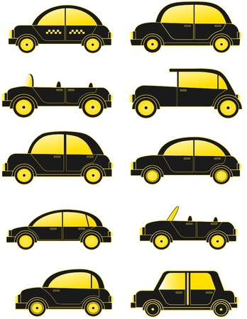 grotesque: set black retro cars silhouette