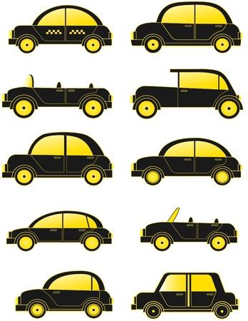 set black retro cars silhouette Vector
