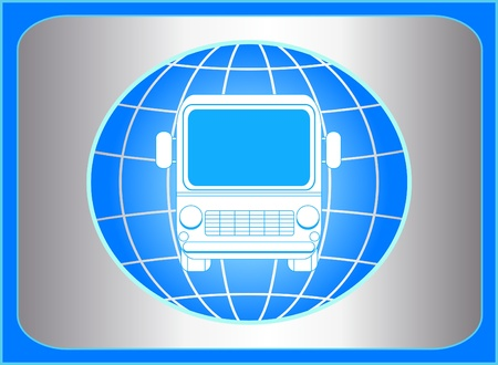 blue sign with bus and planet silhouette Vector