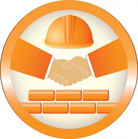 logotipo de construccion: signo de la construcción de color amarillo con apretón de manos, casco y pared de ladrillo