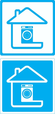 blue symbol with washing mashine and house silhouette Vector