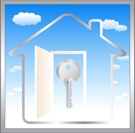 s�mbolo abstracto azul con nubes, la puerta y la llave en la casa