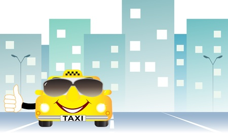 background cartoon taxi with thumb up on city road and space for text Stock Vector - 13380652