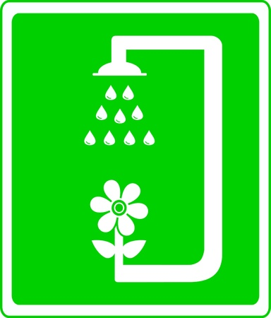 green icon with flower and shower  symbol garden watering Vector