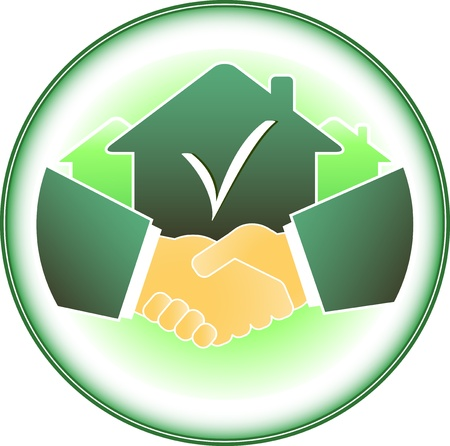 green sign with house and business handshake Stock Illustratie