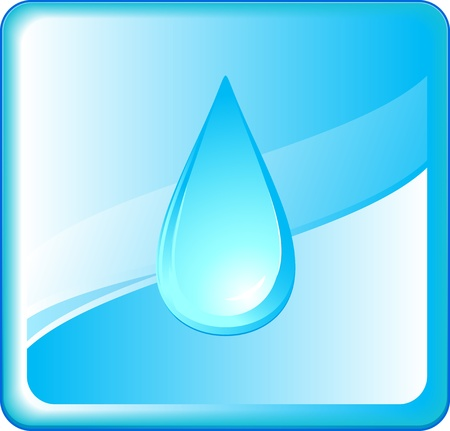 abstract pure symbol with blue water drop in frame Vector