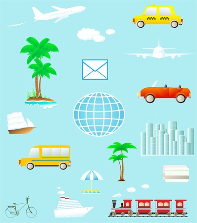set many colorful isolated object on travel and transport Vector