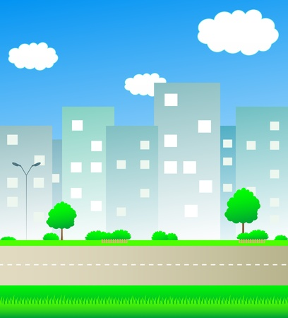 cute urban landscape with road and space for text Vector