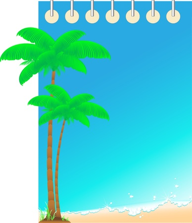 blue travel background notepad with ocean wave and palm  space for text Vector