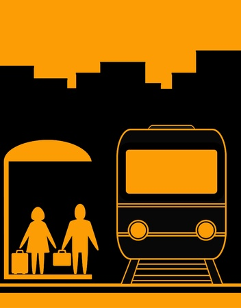 train icon: yellow urban background with man and woman waiting travel