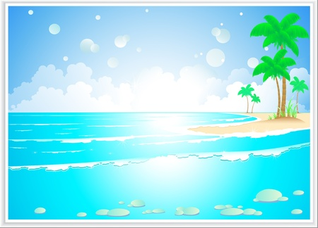 beautiful tropical landscape with ocean wave and island Vector