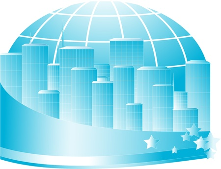 business blue sign with skyscraper, earth and space for text Stock Vector - 13552212