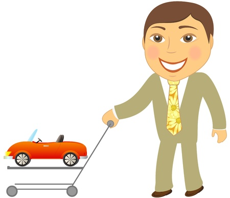 handcart: cartoon happy man with shopping cart and car cabriolet Illustration