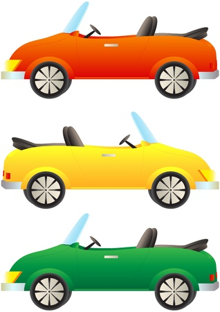 convertible car: establece descapotable coches de dibujos animados de colores Vectores
