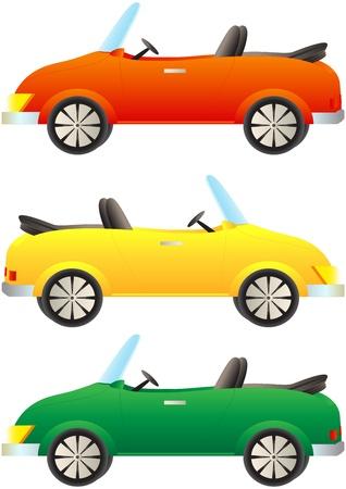 set cartoon colorful cars cabriolet