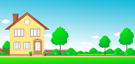 nature landscape with cottage and sky with space for text