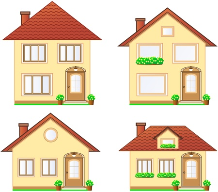 set of cute isolated modern cottage with flower Stock Illustratie