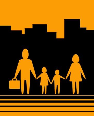 famiglia numerosa: sfondo giallo urbano con grande famiglia felice Vettoriali
