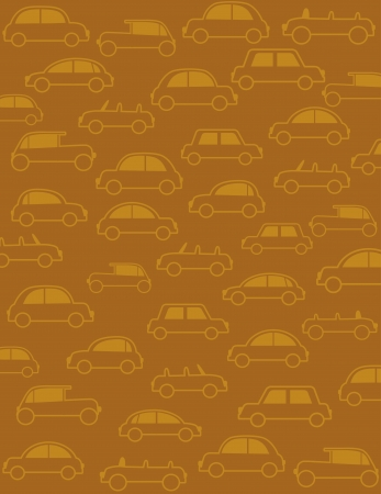 call history: brown transport background with many cars in retro style Illustration