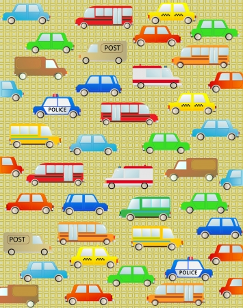 cute cartoon background with urban colorful transport Vector