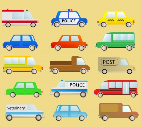 cartoon transport set with many isolated colorful urban cars Vector