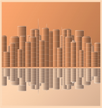 city landscape with skyscraper and reflection Vector
