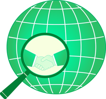 green international financial sign with business handshake and planet on magnifier Vector