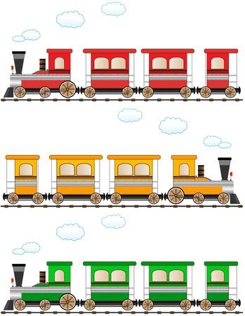 set cartoon isolated colorful train Illustration