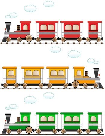 set cartoon isolated colorful train Vector