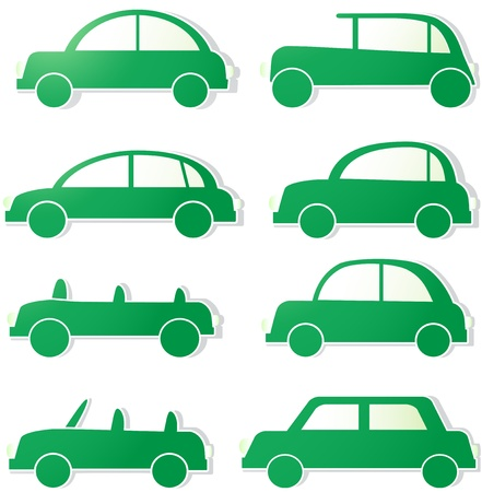 cute set, green isolated cars with shadow  sign ecology transport Vector