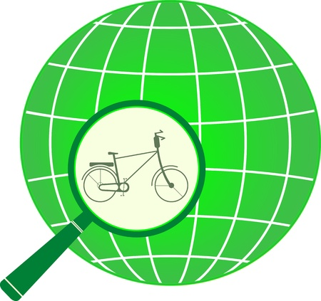go green logo: symbol green tourism with bycicle in magnifier on planet  isolated icon Illustration