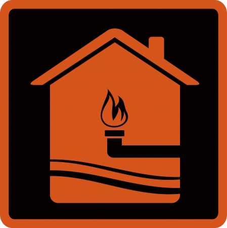 image with gas pipe and fire  symbol supply gas Vector