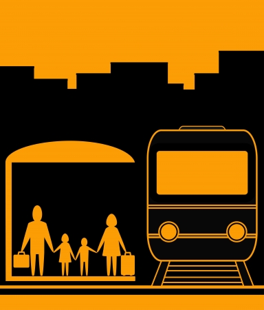 yellow urban background with family and railroad station Vector