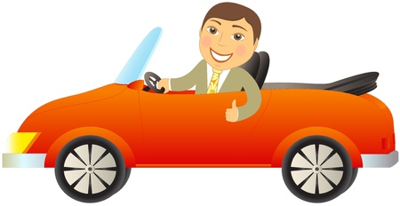 luxury travel: cartoon happy man in red car cabriolet