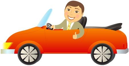 cartoon happy man in red car cabriolet